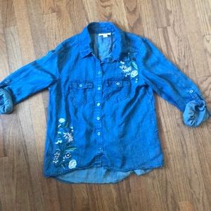Denim Shirt with Embroidered Flowers
